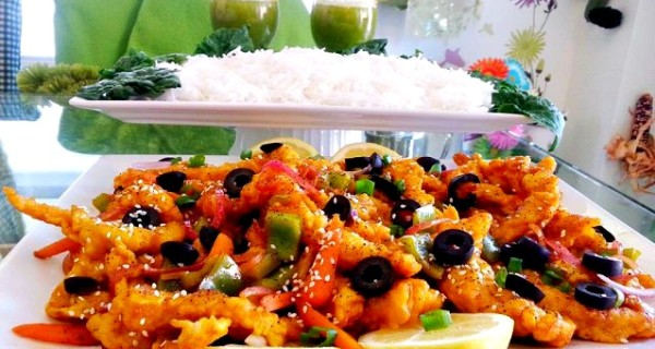 Stir Fry Lemon Chicken with Spinach Rice