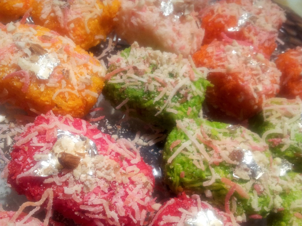 Coconut Rainbow Burfi Fudge Bars