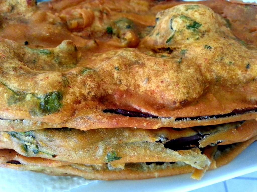 Baingan Pakoras (deep-fried eggplant)