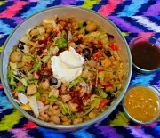 Vege Salad Centred with Sour Cream