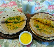 Aloo Pyaz Paratha Recipe- Flatbread Stuffed with Potato and Onions- Asli Ghee